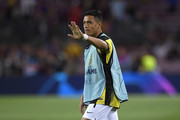 Alexis Sanchez of Inter Milan warms up prior to the UEFA Champions League group F match between FC Barcelona and FC Internazionale at Camp Nou on October 02, 2019 in Barcelona, Spain.