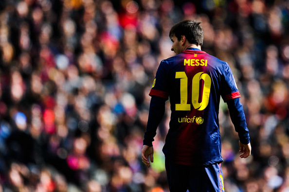 Lionel Messi of FC Barcelona looks on during the La Liga match between FC Barcelona and Getafe CF at Camp Nou on February 10, 2013 in Barcelona, Spain.