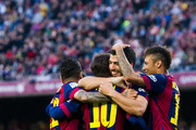 Luis Suarez (2nd R) of FC Barcelona celebrates with his teammates Dani Alves (L), Lionel Messi (2nd L) and Neymar Santos Jr (R) after scoring his team's second goal during the La Liga match between FC Barcelona and Getafe CF at Camp Nou on April 28, 2015 in Barcelona, Spain.