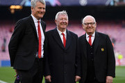 (L-R) David Gill, Manchester United vice-chairman and Sir Alex Ferguson during the UEFA Champions League Quarter Final second leg match between FC Barcelona and Manchester United at Camp Nou on April 16, 2019 in Barcelona, Spain.