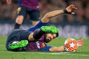 Luis Suarez of Barcelona falls on ground during the UEFA Champions League Quarter Final second leg match between FC Barcelona and Manchester United at Camp Nou on April 16, 2019 in Barcelona, Spain.