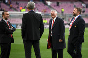 Sir Alex Ferguson speaks to Ed Woodward, Manchester United Executive Vice-Chairman during the UEFA Champions League Quarter Final second leg match between FC Barcelona and Manchester United at Camp Nou on April 16, 2019 in Barcelona, Spain.