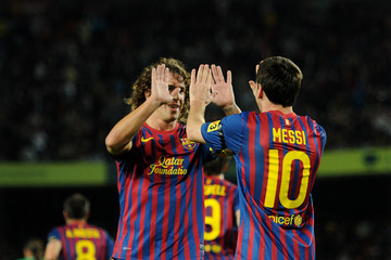 Lionel Messi Carles Puyol FC Barcelona v Real Racing Club  - Liga BBVA