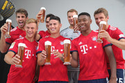 (L-R) Javier Martinez, Joshua Kimmich, Mats Hummels, James Rodriguez, Manuel Neuer, David Alaba and Thomas Mueller of FC Bayern Muenchen during the FC Bayern Muenchen and Paulaner Photo Session at FGV Schmidtle Studios on September 2, 2018 in Munich, Germany. .The traditional photo shoot featuring FC Bayern Muenchen for the Paulaner brewery who have been a platinum partner with Bayern Muenchen since 2003. Giving some of the stars from Germany?s record-breaking football team and their trainer Niko Kovac the opportunity to get in touch with some Bavarian culture by dressing for the shoot in Lederhosen the traditional attire of Bavaria.