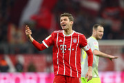 Thomas Mueller of FC Bayern Muenchen reacts during the Bundesliga match between FC Bayern Muenchen and 1. FC Koeln at Allianz Arena on December 13, 2017 in Munich, Germany.