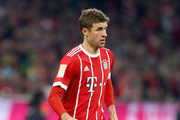 Thomas Mueller of FC Bayern Muenchen runs with the ball during the Bundesliga match between FC Bayern Muenchen and 1. FC Koeln at Allianz Arena on December 13, 2017 in Munich, Germany.