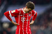 Thomas Mueller #25 of Bayern Munich reacts during the Bundesliga match between FC Bayern Muenchen and 1. FC Koeln at Allianz Arena on December 13, 2017 in Munich, Germany.