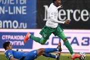 Christian Noboa (L) of FC Dinamo Moscow challenged by Kanu of FC Terek Grozny during the Russian Premier League match between FC Dinamo Moscow and FC Terek Grozny at the Arena Khimki Stadium on November 23, 2014 in Khimki, Russia.