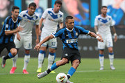Alexis Sanchez of FC Internazionale takes a penalty kick to score the second goal of his team during the Serie A match between FC Internazionale and Brescia Calcio at Stadio Giuseppe Meazza on July 1, 2020 in Milan, Italy.