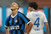 Alexis Sanchez of FC Internazionale reacts during the Serie A match between FC Internazionale and Brescia Calcio at Stadio Giuseppe Meazza on July 1, 2020 in Milan, Italy.