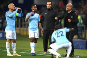 Josep Guardiola, Manager of Manchester City gives his team instructions during the Group F match of the UEFA Champions League between FC Shakhtar Donetsk and Manchester City at Metalist Stadium on October 23, 2018 in Kharkov, Ukraine.