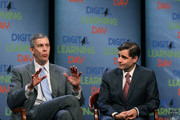 Education Secretary Arne Duncan (L), and FCC Chairman Julius Genachowski participate in a town hall meeting for the first national Digital Learning Day, at the Newseum on February 1, 2012 in Washington, DC. Digital Learning Day is a nationwide celebration of innovative teaching and learning using digital media and technology..