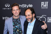 Armie Hammer (L) and Luca Guadagnino attend the HFPA's and InStyle's Celebration of the 2018 Golden Globe Awards Season and the Unveiling of the Golden Globe Ambassador at Catch on November 15, 2017 in West Hollywood, California.
