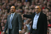 Chelsea Manager Avram Grant shouts instructions as Liverpool Manager Rafael Benitez looks on during the UEFA Champions League Semi Final, first leg match between Liverpool and Chelsea at Anfield on April 22, 2008 in Liverpool, England.