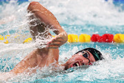 Pieter Timmers of Belgium competes in the Mens 200m Freestyle heat on day 3 of the FINA Swimming World Cup held at Pieter van den Hoogenband & Tongelreep Swimming Stadium on September 30, 2018 in Eindhoven, Netherlands.