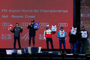 (L-R) Silver medalist Dustin Cook of Canada, gold medalist of Hannes Reichelt of Austria, bronze medalist Adrien Theaux of France, fourth place finishers (tie) Kjetil Jansrud of Norway and Matthias Mayer of Austria, and sixth place finisher Aksel Lund Svindal of Norway stand on the podium during the medals ceremony for the Men's Super-G on Day 4 of the 2015 FIS Alpine World Ski Championships in Championships Plaza on February 5, 2015 in Vail, Colorado.