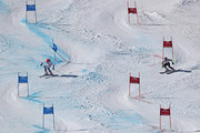 (L-R)  Petra Vlhova of Slovakia and Tessa Worley of France compete in the big final (gold / silver) of the Alpine Team Event during the FIS Alpine World Ski Championships on February 14, 2017 in St Moritz, Switzerland.