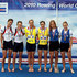 Hester Goodsell Photos - (L-R) Silver medal winners Hester Goodsell and Sophie Hosking of Great Britain, Gold medal winners Abelyn Broughton and Usula Grobler of USA and Bronze medal winners Triantafyllia Kalampoka and Christina Giazitzidou of Greece after the Lightweight Women's Double Sculls during the 2010 Rowing World Cup on Lake Bled on May 30, 2010 in Bled, Slovenia. - FISA Rowing World Cup - Day Three