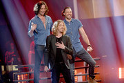 """(L-R) Recording artists Constantine Maroulis, Bucky Covington and Ace Young perform onstage during FOX's """"American Idol"""" Finale For The Farewell Season at Dolby Theatre on April 7, 2016 in Hollywood, California. at Dolby Theatre on April 7, 2016 in Hollywood, California."""