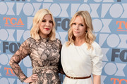 (L-R) Tori Spelling and Jennie Garth attends the FOX Summer TCA 2019 All-Star Party at Fox Studios on August 07, 2019 in Los Angeles, California.