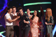 """(L-R) Harry Shum Jr., Dominic Sherwood, Matthew Daddario, Anna Hopkins, Emeraude Toubia, and Katherine McNamara accept the accept the Choice Sci-Fi/Fantasy Show award for """"Shadowhunters: The Mortal Instruments"""" onstage during FOX's Teen Choice Awards at The Forum on August 12, 2018 in Inglewood, California."""