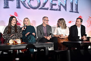 (L-R) Actors Idina Menzel, Kristen Bell, Director Chris Buck, Director/writer/Walt Disney Animation Studios CCO Jennifer Lee and Producer Peter Del Vecho as seen at the FROZEN 2 Global Press Conference at W Hollywood on November 09, 2019 in Hollywood, California.