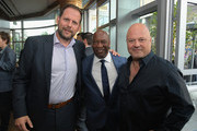 (L-R)  FX president of original programming Nick Grad, John Singleton and Michael Chiklis attend FX Networks celebration of their Emmy nominees in partnership with Vanity Fair at Craft on September 16, 2017 in Century City, California.