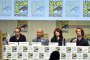 (L-R) Creator/executive producer Kurt Sutter, executive producer/director Paris Barclay, actors Katey Sagal and Kim Coates attend FX's 'Sons of Anarchy' panel during Comic-Con International 2014 at San Diego Convention Center on July 27, 2014 in San Diego, California.