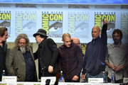 (L-R) Actors Kim Coates, Mark Boone Junior, Tommy Flanagan, Theo Rossi, Dayton Callie, David Labrava and Niko Nicotera attend FX's 'Sons of Anarchy' panel during Comic-Con International 2014 at San Diego Convention Center on July 27, 2014 in San Diego, California.