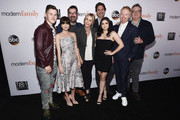 "(L-R) Actors Nolan Gould, Sarah Hyland, Ty Burrell and Julie Bowen, executive producer Steven Levitan and actors Ariel Winter, Jesse Tyler Ferguson and Eric Stonestreet arrive at the FYC Event for ABC's ""Modern Family"" at Avalon on April 16, 2018 in Hollywood, California."