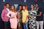 (L-R) Actors Jharell Jerome, Niecy Nash, Marsha Stephanie Blake, Asante Blackk, Aunjanue Ellis and Ethan Herisse attend FYC Event For Netflix's 'When They See Us' at Paramount Theater on the Paramount Studios lot on August 11, 2019 in Hollywood, California.