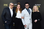 "(L-R) Eugene Levy, Annie Murphy, Daniel Levy and Catherine O'Hara arrive at the FYC Screening of Pop TV's ""Schitt's Creek"" at the Saban Media Center on May 30, 2019 in North Hollywood, California."