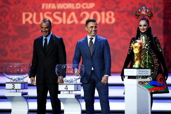 Final Draw for the 2018 FIFA World Cup Russia [event,award ceremony,speech,talent show,formal wear,suit,spokesperson,performance,draw assistant,assistant,cafu,fabio cannavaro,laugh,russia,state kremlin palace,moscow,draw,2018 fifa world cup]