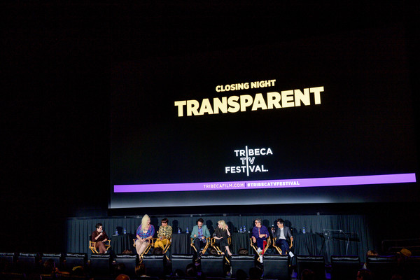 'Transparent' Series Finale - 2019 Tribeca TV Festival [transparent series finale,text,stage,display device,design,event,font,technology,performance,electronic device,projection screen,jude dry,jill soloway,faith soloway,transparent,judith light,jay duplass,l-r,tribeca tv festival,panel discussion]