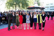 "Mathew Baynton, Monica Dolan, Katie Ann Knight, guest, Morfydd Clark, Maisie Williams, Florence Pugh, Ellie Bamber, Evie Hooton and Lauren McCrostie attend the world premiere red carpet arrivals of ""The Falling"" during the 58th BFI London Film Festival at Odeon West End on October 11, 2014 in London, England."
