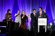 """Sam Lippitt, Bruce Cohen, Primavera Salva, Tom Swann and Nick Scandalios attend Family Equality Council's """"Night At The Pier"""" at Pier 60 on May 7, 2018 in New York City."""