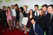 "Actors Chris Wylde, Bella Thorne, CBS Films' Mark Ross, actors Bianca Santos, Skylar Samuels, Mae Whitman, Robbie Amell, Ken Jeong, CBS Films Co-President Terry Press, producer McG and actor Nick Eversman attend a Fan Screening of CBS Films' ""The Duff"" at the TCL Chinese 6 Theatres on February 12, 2015 in Hollywood, California."