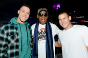 (L-R) Aaron Judge, Dennis Rodman and Anthony Rizzo attend Michael Rubin's Fanatics Super Bowl Party at Loews Miami Beach Hotel on February 01, 2020 in Miami Beach, Florida.