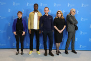"""(L-R) Lea Mysius, Stephane Bak, Kacey Mottet Klein, Catherine Deneuve and Andre Techine pose at the """"Farewell To The Night"""" (L'adieu a la nuit) photocall during the 69th Berlinale International Film Festival Berlin at Grand Hyatt Hotel on February 12, 2019 in Berlin, Germany."""