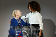 Carla Sozzani and Veronica Webb speak onstage during Fashion 4 Development's 9th Annual Official First Ladies Luncheon at The Pierre Hotel on September 24, 2019 in New York City.