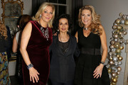 Nadja Swarovski (L) and Bianca Jagger (C) attend a welcome dinner hosted by Nadja Swarovski in anticipation of the Fashion Awards in partnership with Swarovski at The Arts Club on December 3, 2017 in London, England.