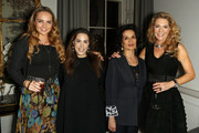Mary Katrantzou (CL) and Bianca Jagger (CR) attend a welcome dinner hosted by Nadja Swarovski in anticipation of the Fashion Awards in partnership with Swarovski at The Arts Club on December 3, 2017 in London, England.