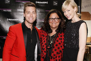 (L-R) Lance Bass, Fern Mallis and Erin Fetherston attend Fashion's Night Out at Saks Fifth Avenue on September 6, 2012 in New York City.