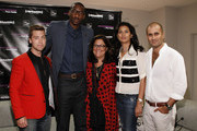(L-R) Lance Bass, Amar'e Stoudemire, Fern Mallis and Designers Babi and Sachin Ahulawalia attend Fashion's Night Out at Saks Fifth Avenue on September 6, 2012 in New York City.