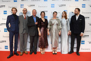 "(L-R) Joe Alwyn, Mark Gatiss, James Smith, Rachel Weisz, Olivia Colman, Emma Stone and Yorgos Lanthimos attend the UK Premiere of ""The Favourite"" & American Express Gala at the 62nd BFI London Film Festival on October 18, 2018 in London, England."