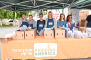 (L-R) Luca Bella Facinelli, Jennie Garth, Leighton Meester, Malin Ã…kerman, JoAnna Garcia and Shanola Hampton volunteer at the Feeding America and Los Angeles Regional Food Bank Team in a special volunteer event for Mother's Day on May 07, 2019 in Los Angeles, California.