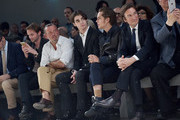 RJ Mitte, Ellar Coltrane and Pietro Beccari  attend the Fendi show during the Milan Men's Fashion Week Spring/Summer 2016 on June 22, 2015 in Milan, Italy.