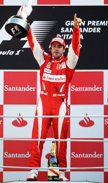 Fernando Alonso Fernando Alonso of Spain and Ferrari celebrates on the podium after winning the Italian Formula One Grand Prix at the Autodromo Nazionale di Monza on September 12, 2010 in Monza, Italy.
