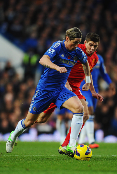Chelsea v Liverpool - Premier League [player,sports,soccer player,football,sports equipment,football player,team sport,ball game,soccer,sport venue,fernando torres,steven gerrard,challenge,liverpool,chelsea,england,london,stamford bridge,premier league,match]