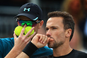 Jamie Murray of Great Britain and Bruno Soares of Brazil during their doubles semi-final match against Oliver Marach of Austria and Mate Pavic of Croatia  during Day 6 of the Fever-Tree Championships at Queens Club on June 23, 2018 in London, United Kingdom.